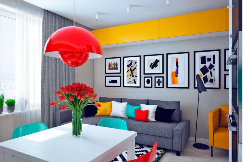 Màu sắc phòng khách tươi sáng