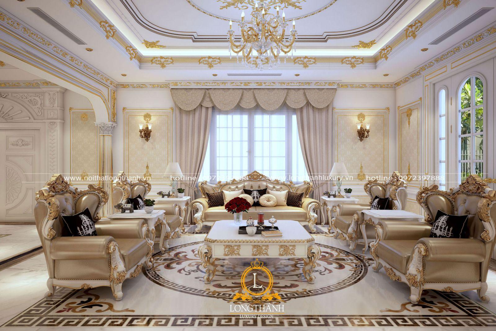 Phòng khách tân cổ điển sơn trắng nổi bật với các họa tiết dát vàng