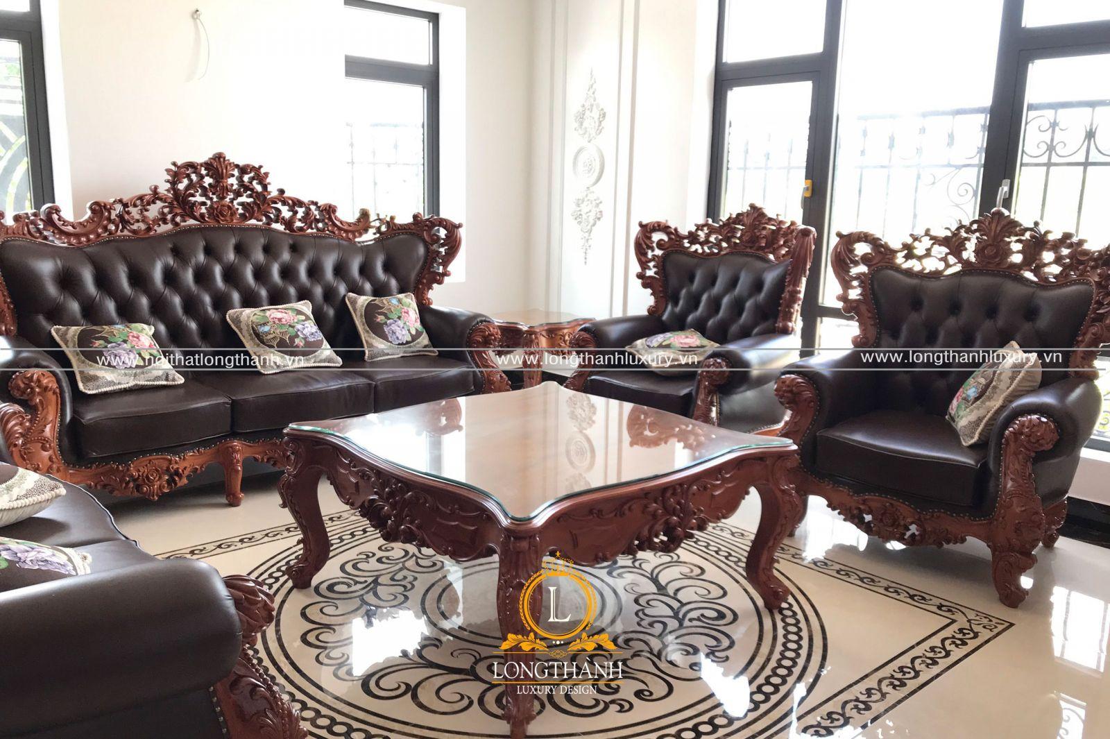 Mẫu sofa tân cổ điển bọc chất liệu da tự nhiên cao cấp