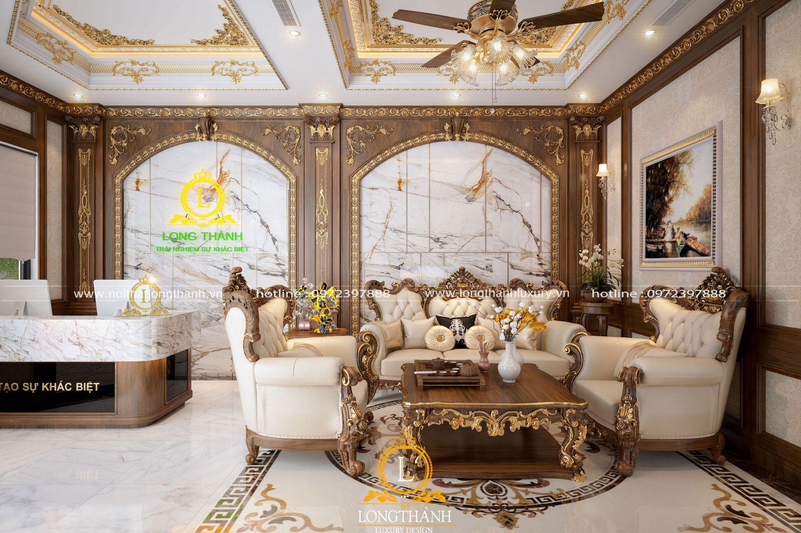 Bộ sofa tân cổ điển được thiết kế trưng bày tại showroom nội thất