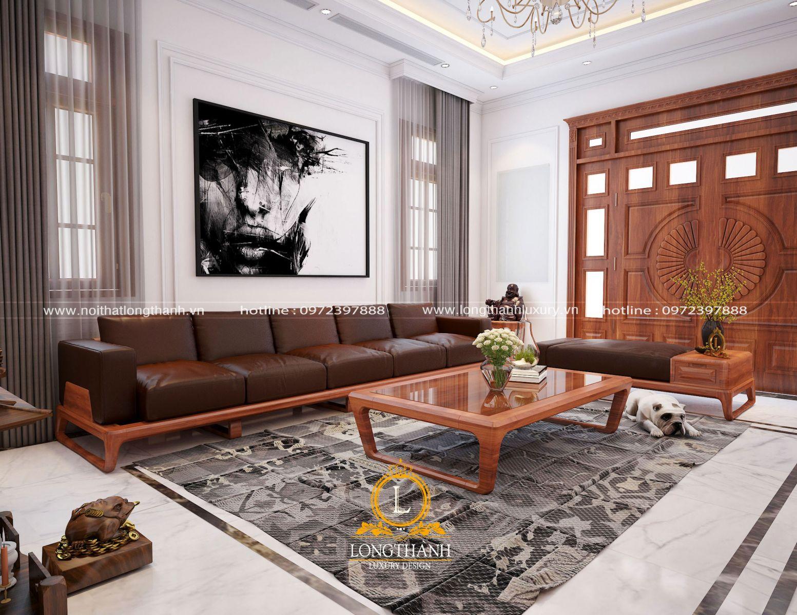 Thiết kế bộ sofa hiện đại với gỗ tự nhiên cho phòng khách biệt thự