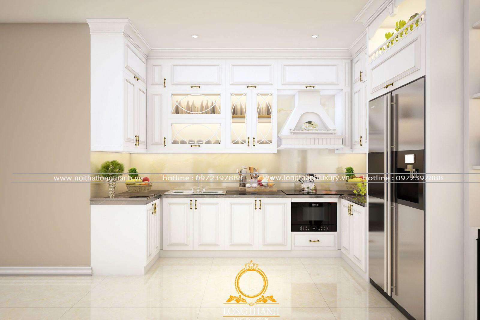 Bộ tủ bếp tân cổ điển đẹp với gam màu trắng tinh