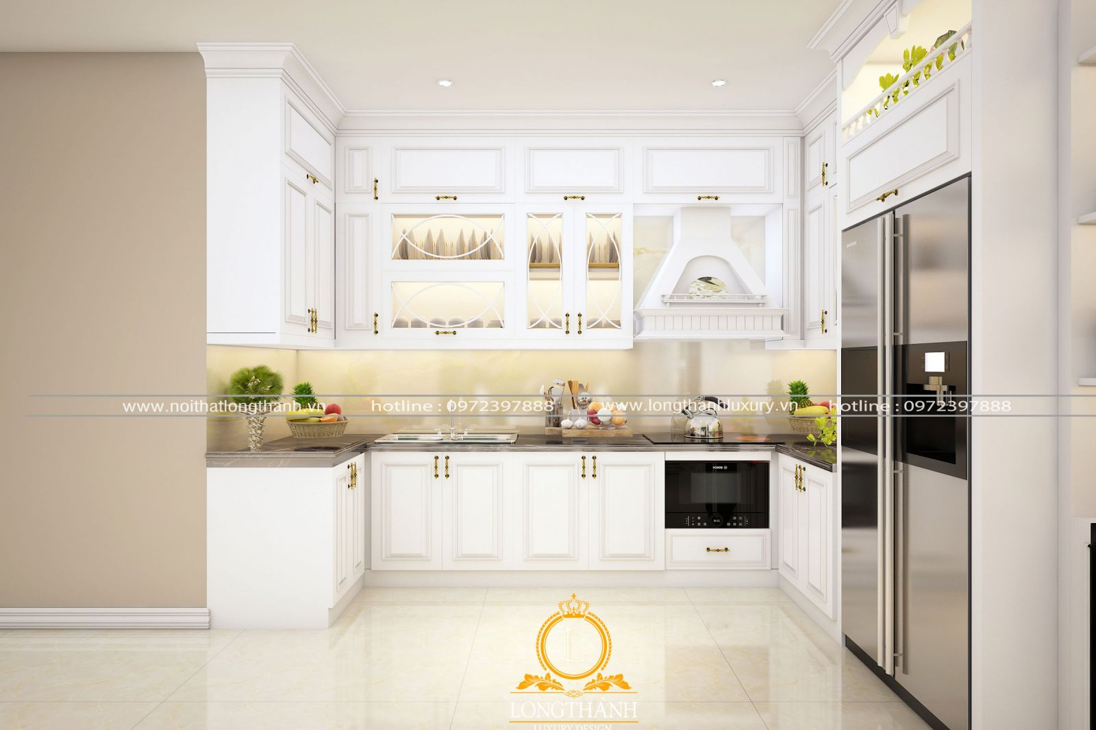 Mẫu tủ bếp với gam màu trắng đặc trưng ấn tượng nổi bật  của phong cách Bắc Âu