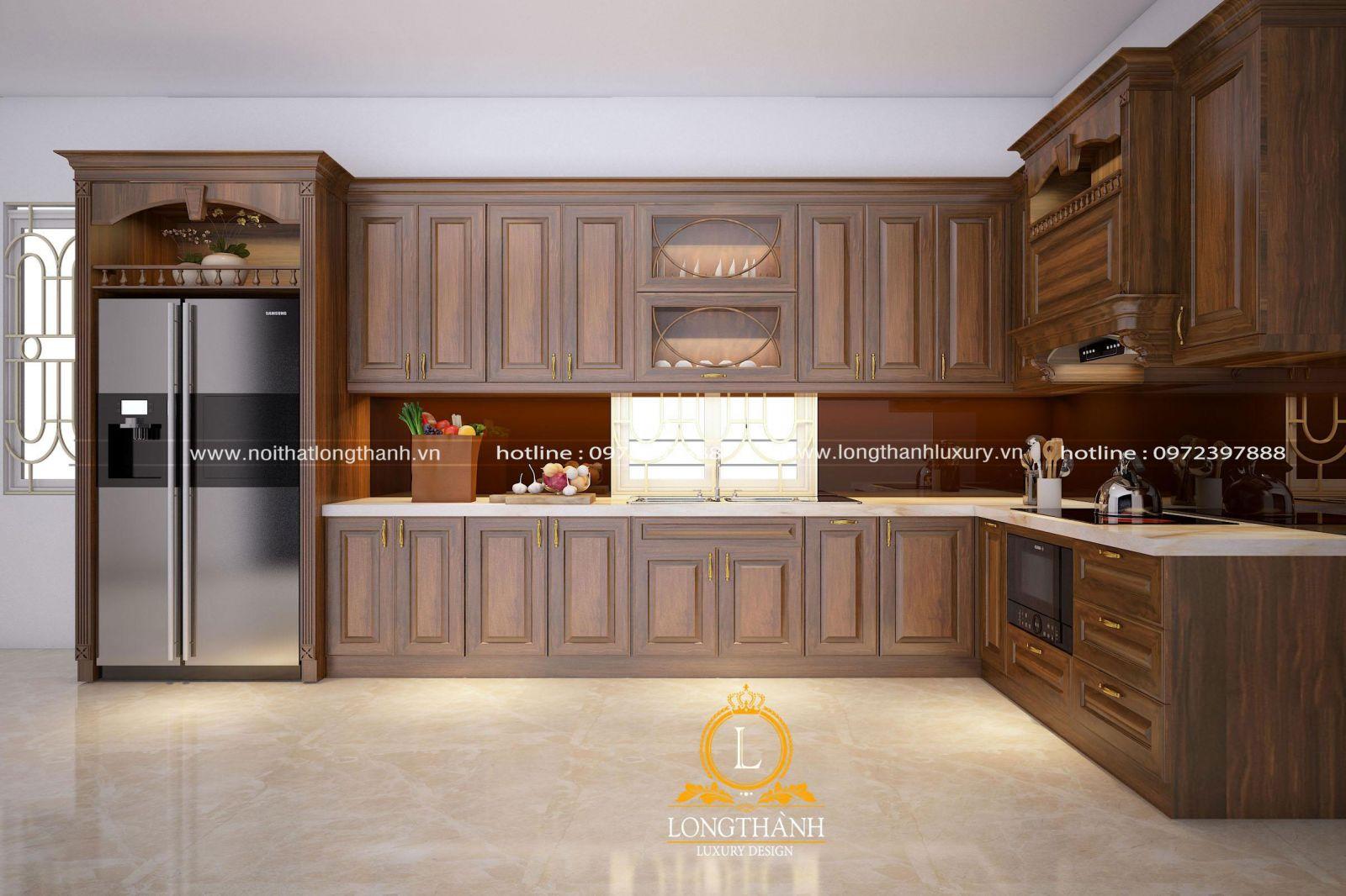 Mẫu tủ bếp đẹp được thiết kế ấn tượng và bố trí công năng khoa học