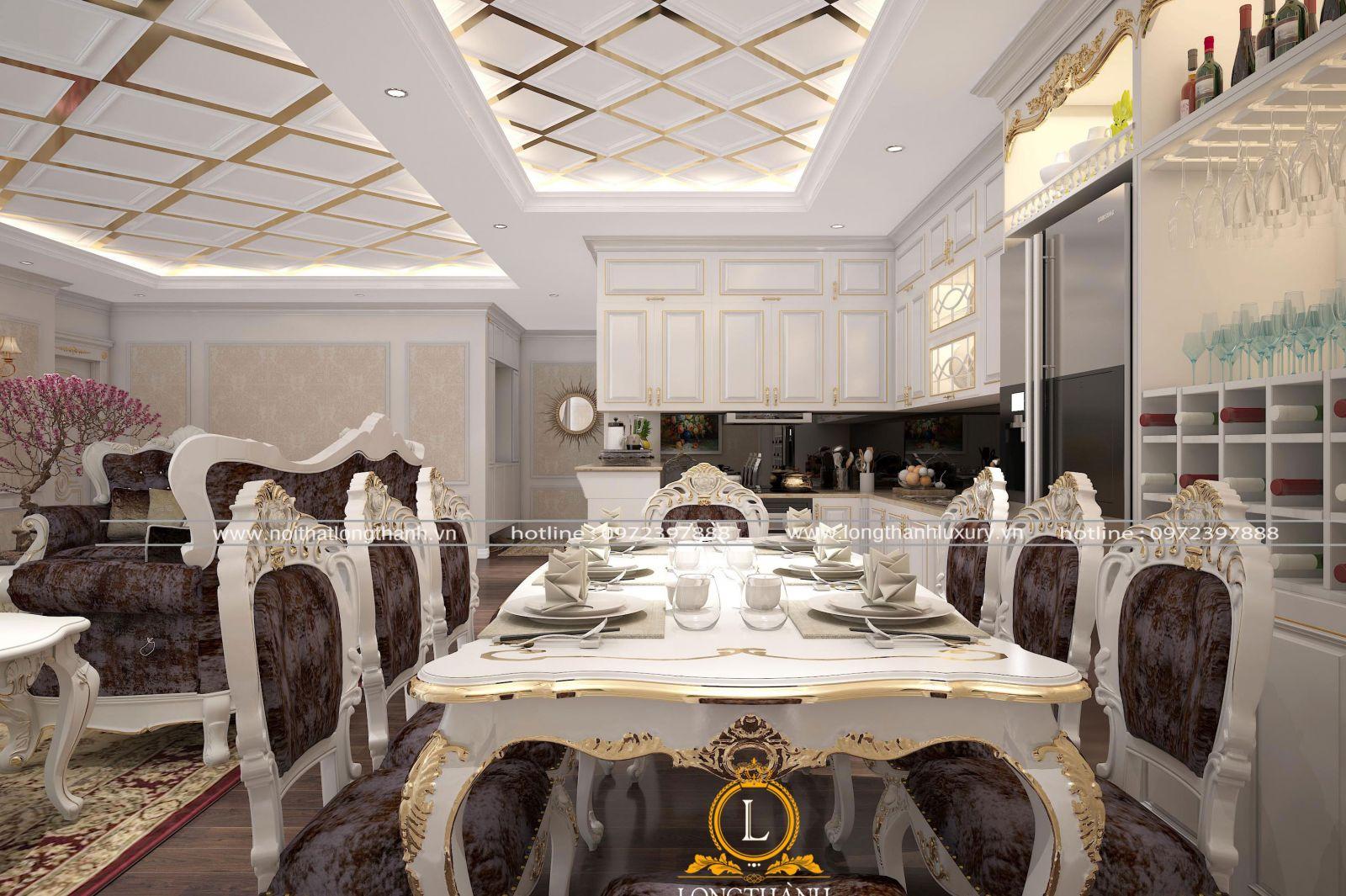 Bộ bàn ghế ăn tân cổ điển sơn trắng dát vàng cho chung cư cao cấp