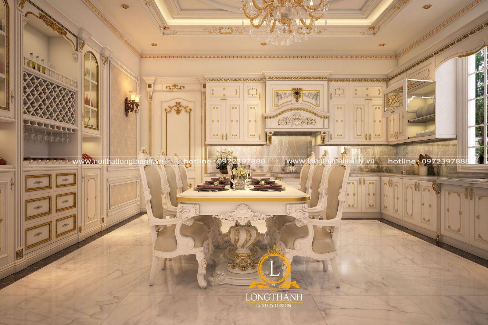 Đồ nội thất tủ bếp tân cổ điển cao cấp phù hợp với mức đầu tư của chủ nhân