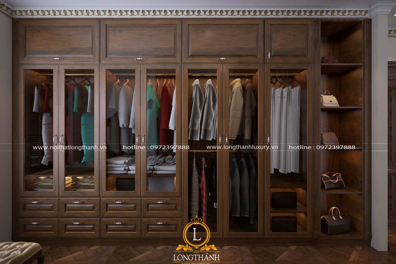 Mẫu tủ quần áo kích thước lớn dành cho những người có nhu cầu sử dụng nhiều