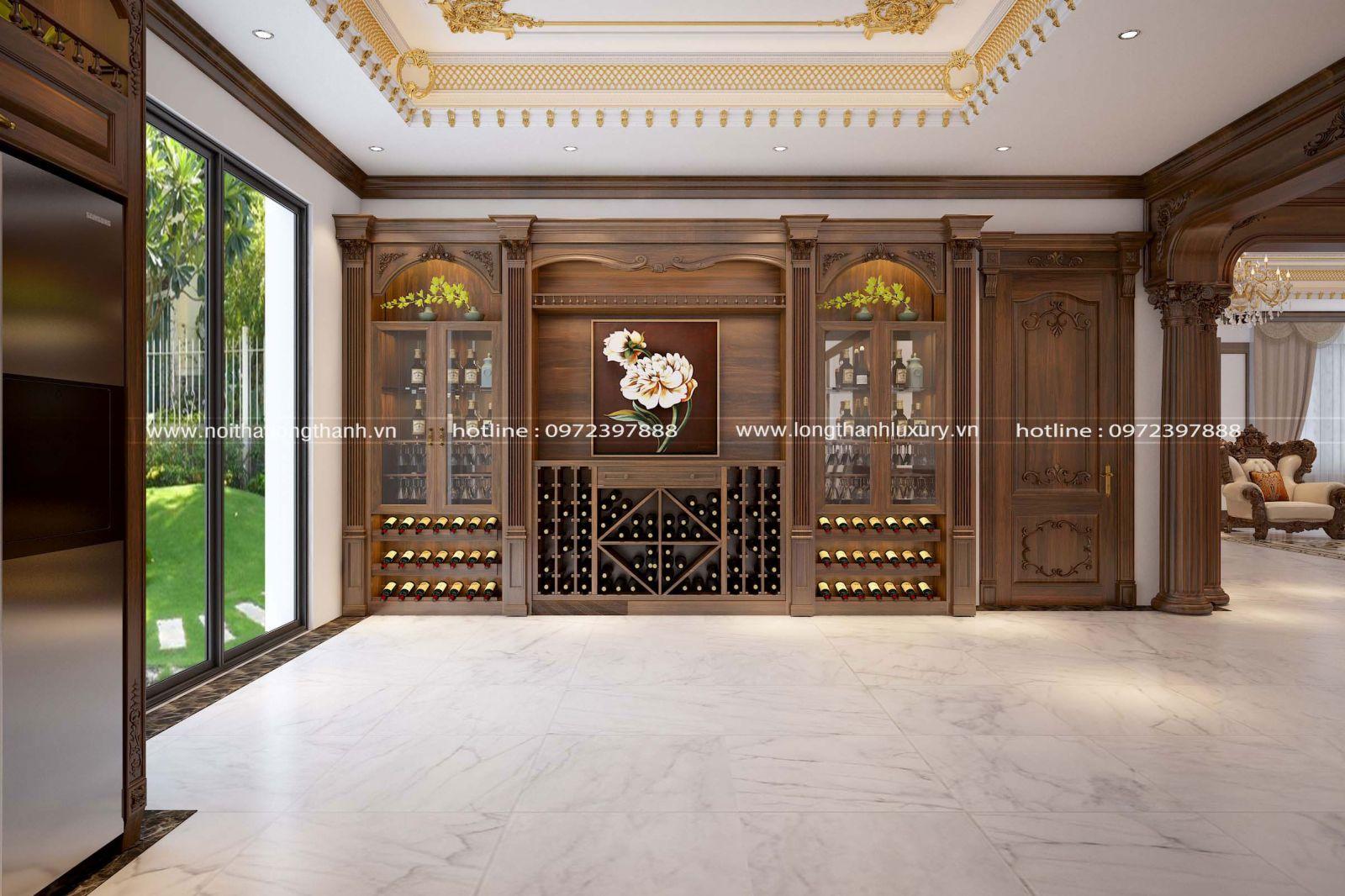 Chiếc tủ rượu được bố trí sát tường với không gian cất trữ lớn