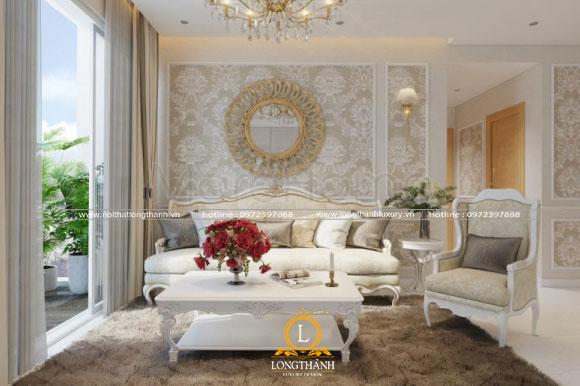 Nội thất phòng sinh hoạt chung cho biệt thự đơn giản nhưng sang trọng với màu sơn trắng