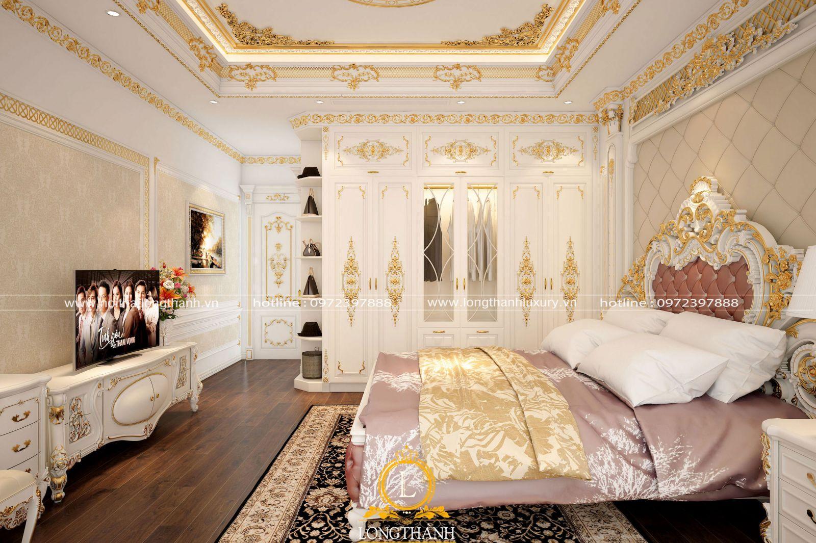Góc nhìn tổng quan căn phòng ngủ tân cổ điển hoàng gia