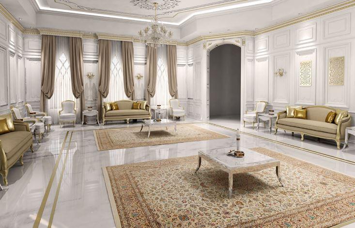 Thiết kế phòng khách rộng cho nhà biệt thự Pháp tạo nên sự quý tộc và xa hoa