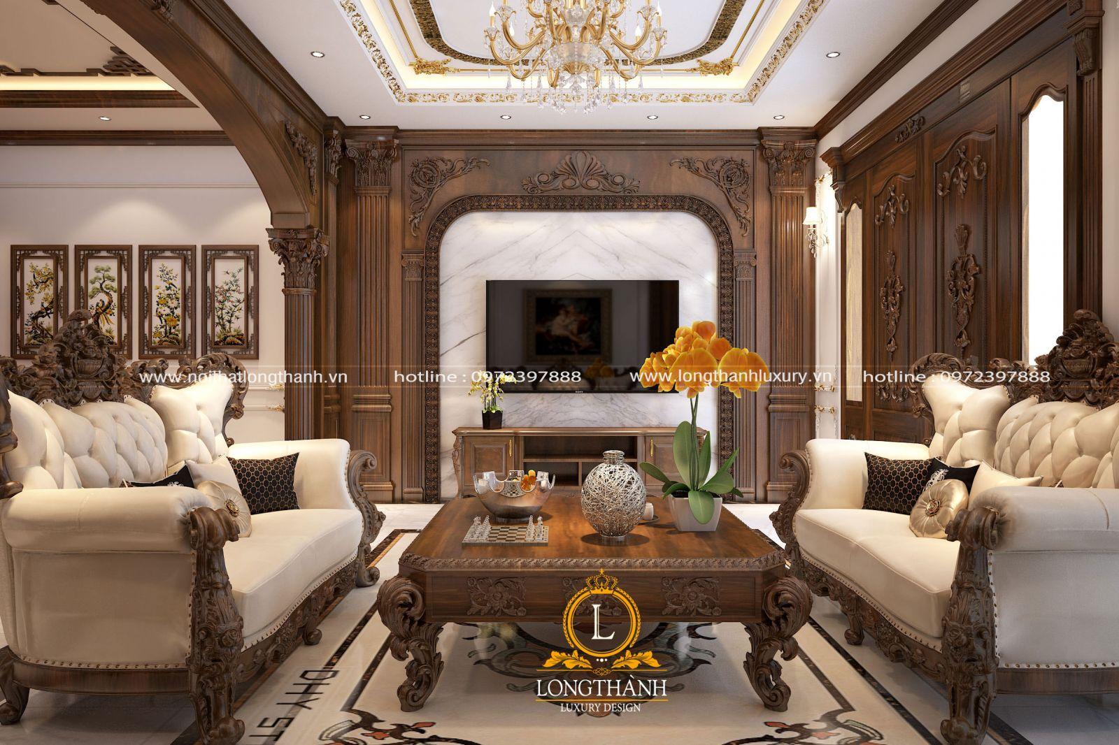 Không gian phòng khách với gỗ Gõ tự nhiên đẳng cấp