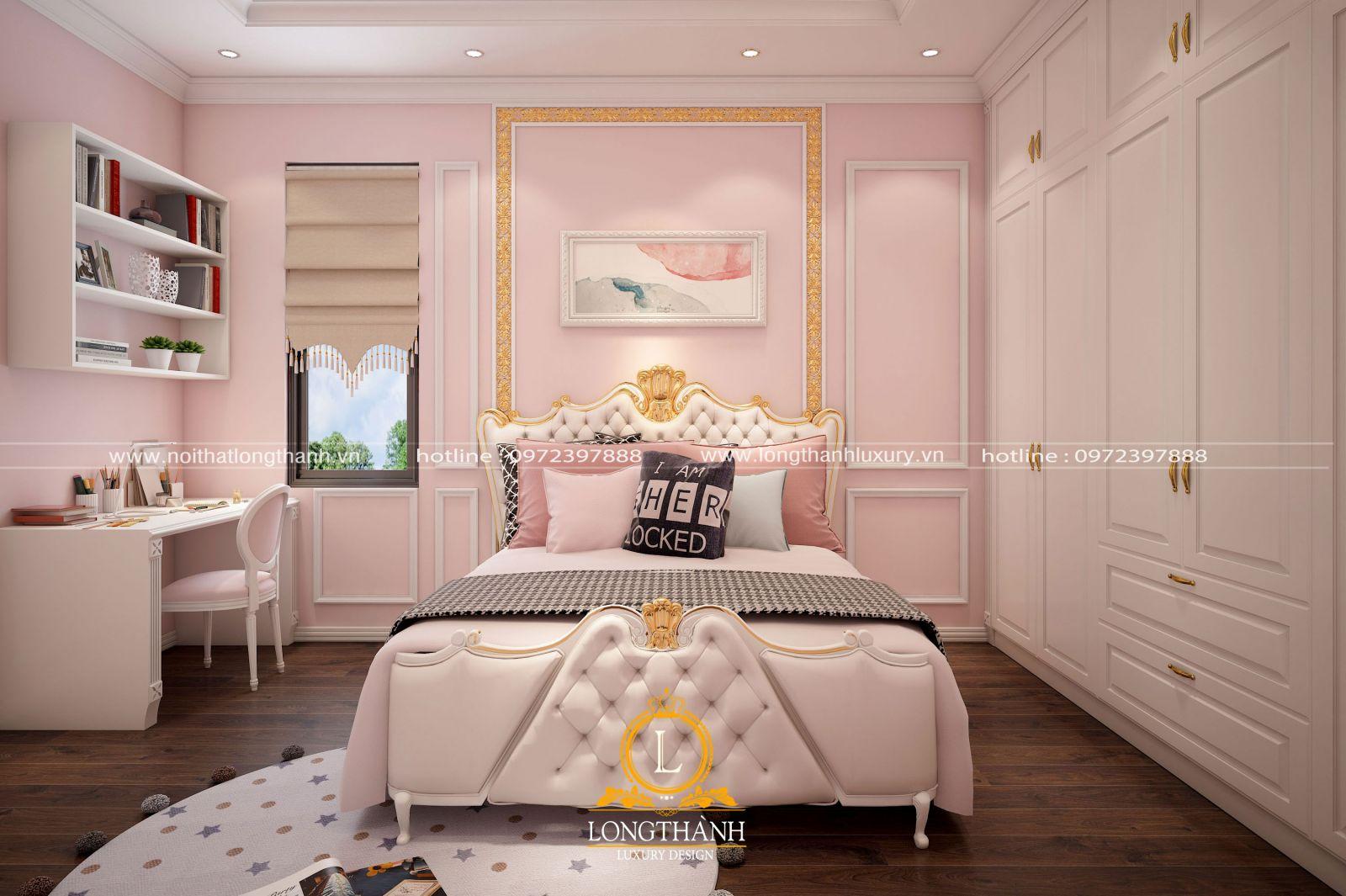 Phòng ngủ với tone màu hồng nhạt dàng cho bé gái