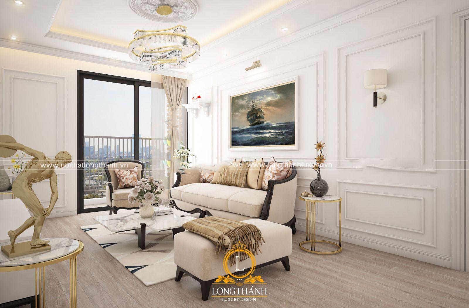 Kích thước phòng khách được thiết kế phù hợp diện tích phòng khách