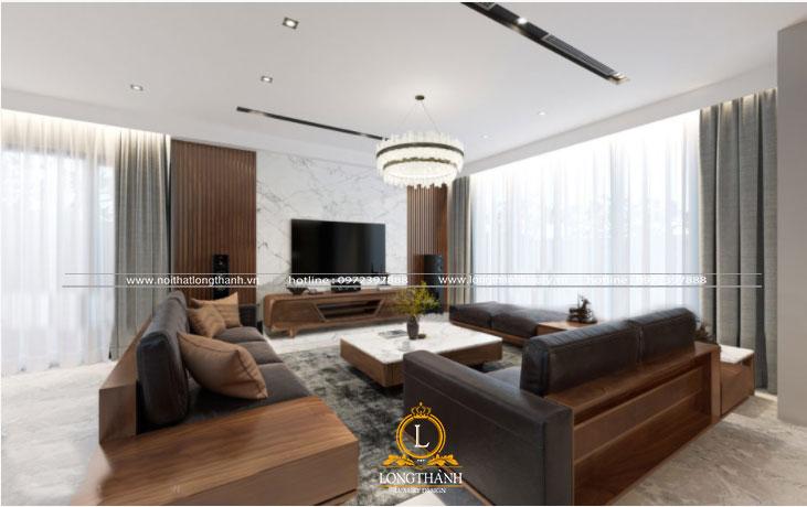Trần phòng khách hiện đại màu trắng