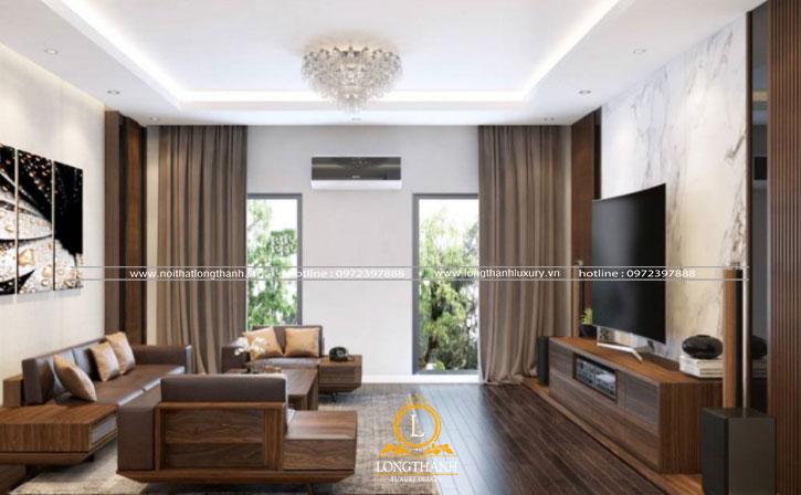 Phòng khách hiện đại được sử dụng chất liệu màu trầm