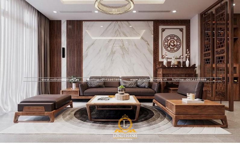 Mẫu sofa chữ  U cân đối với diện tích thực tế phòng khách gia đình