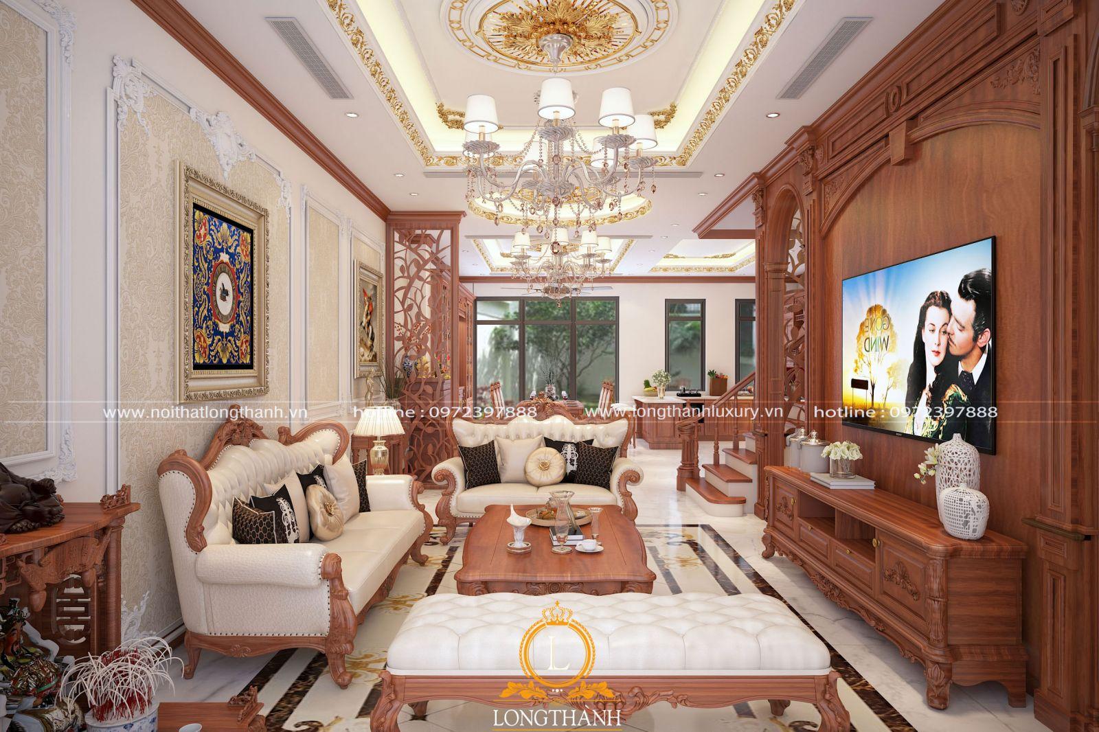 Không gian nội thất phòng khách nhà phố được thiết kế mở theo chiều sâu