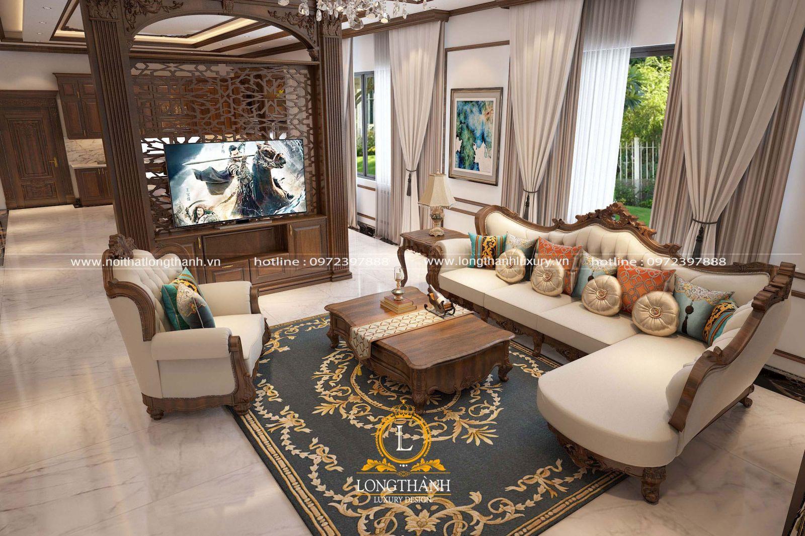 Nội thất phòng khách sang trọng với chiếc thảm trải sàn sử dụng tông màu xanh làm chủ đạo