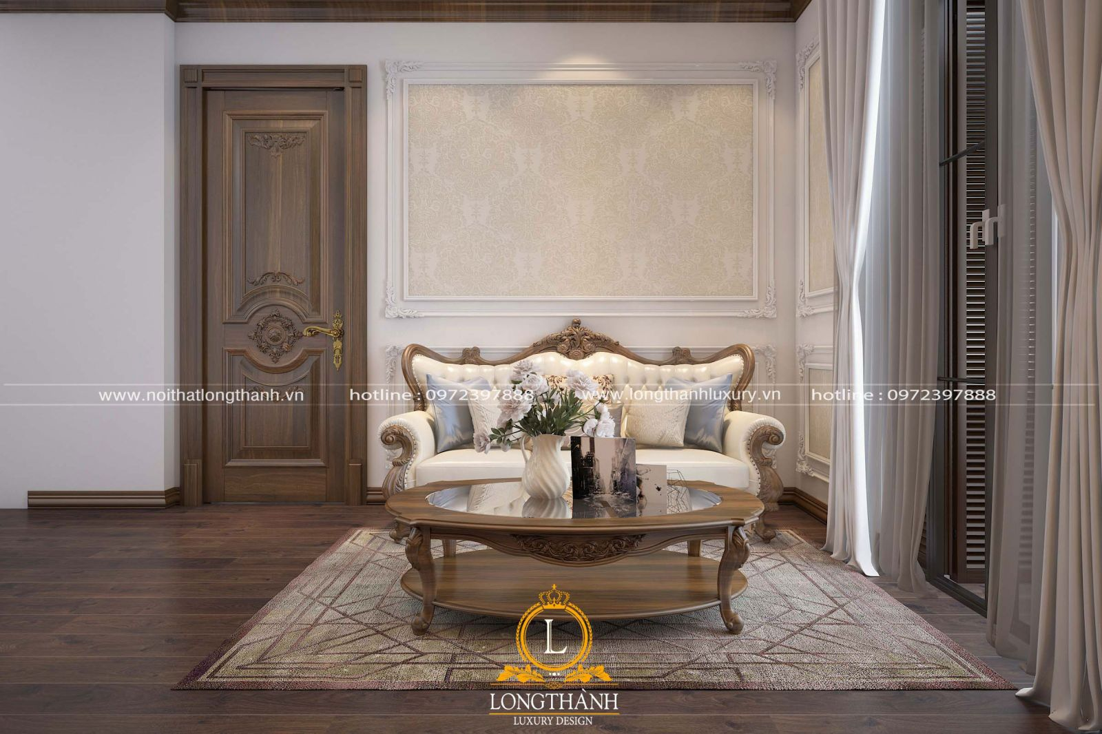 Nội thất phòng khách tân cổ điển chung cư được thiết kế nhẹ nhàng, đơn giản