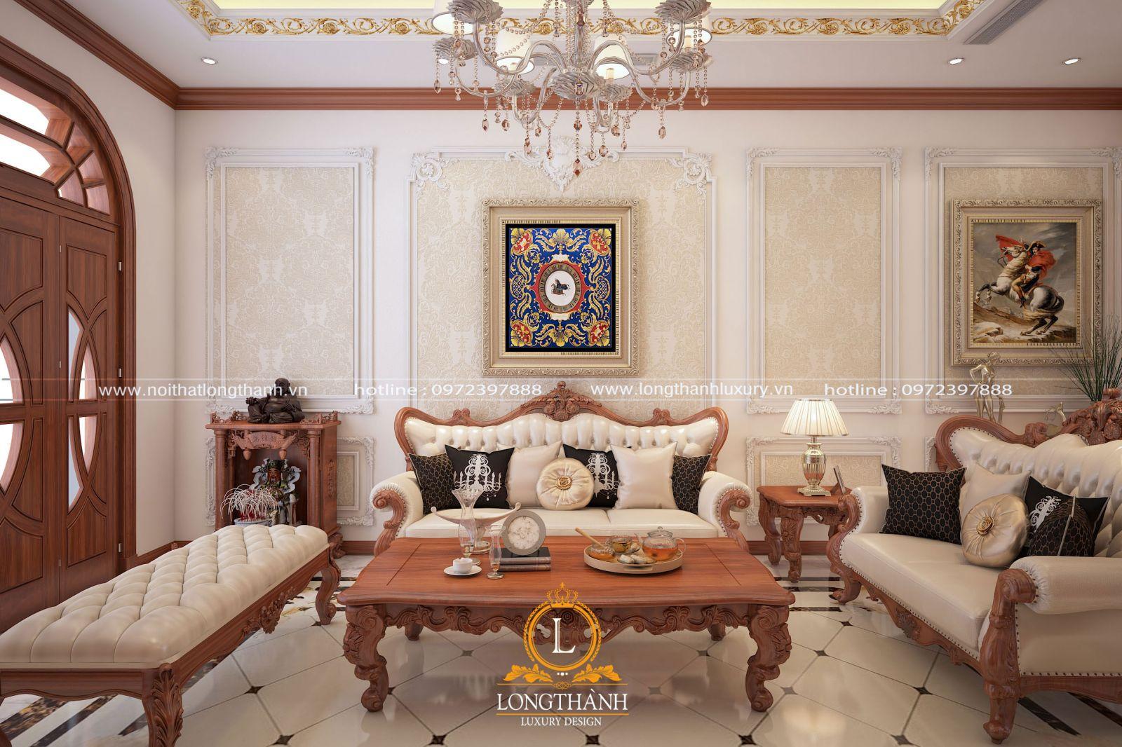 Nội thất phòng khách tân cổ điển nhà phố với chất liệu cao cấp