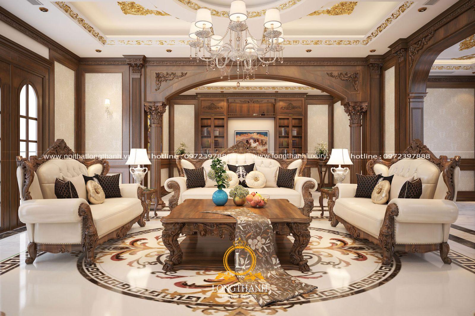 Nội thất phòng khách với chất lượng gỗ  tự nhiên đẳng cấp