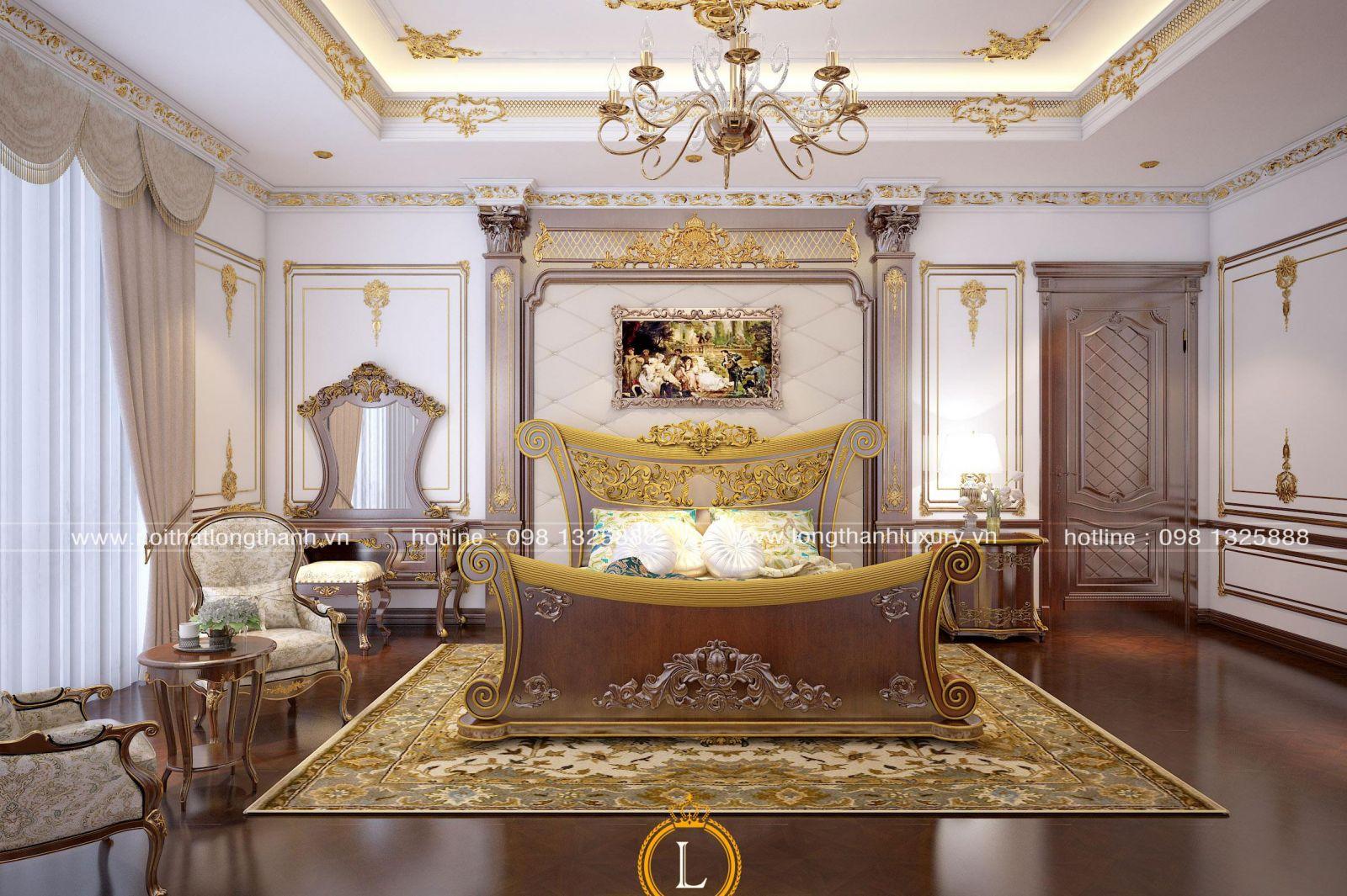 Chiếc giường ngủ trong căn phòng ngủ cao cấp được thiết kế độc đáo