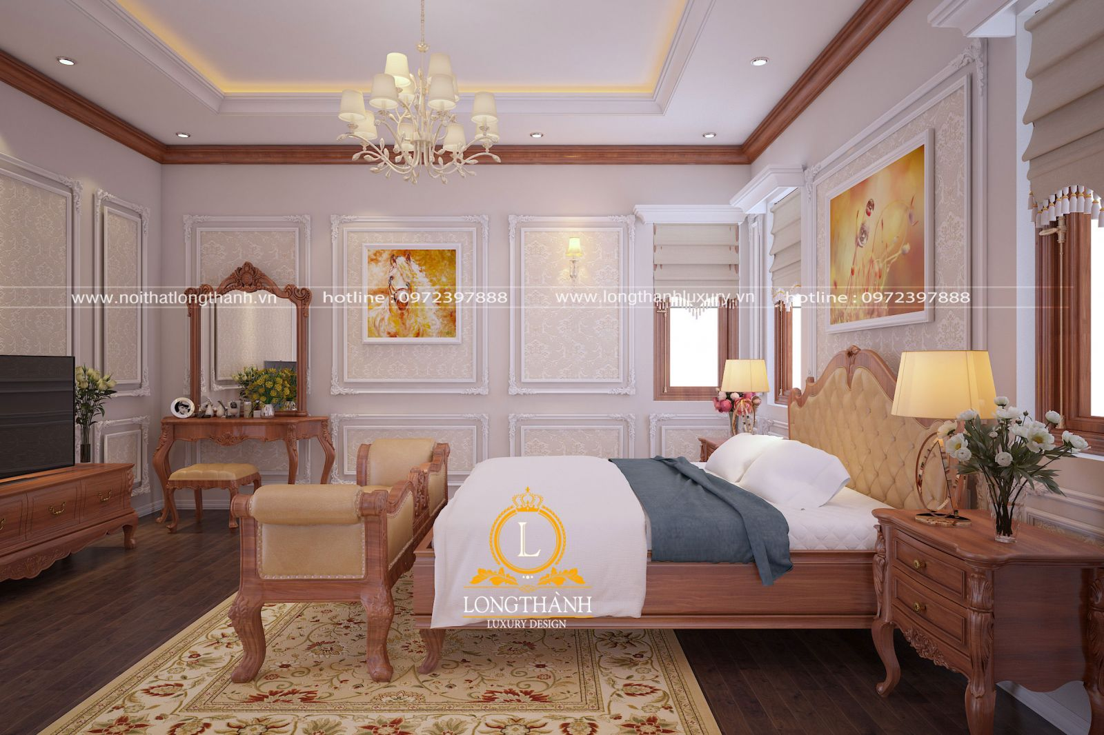 Trang trí nội thất phòng ngủ theo phong cách tân cổ điển hiện đại