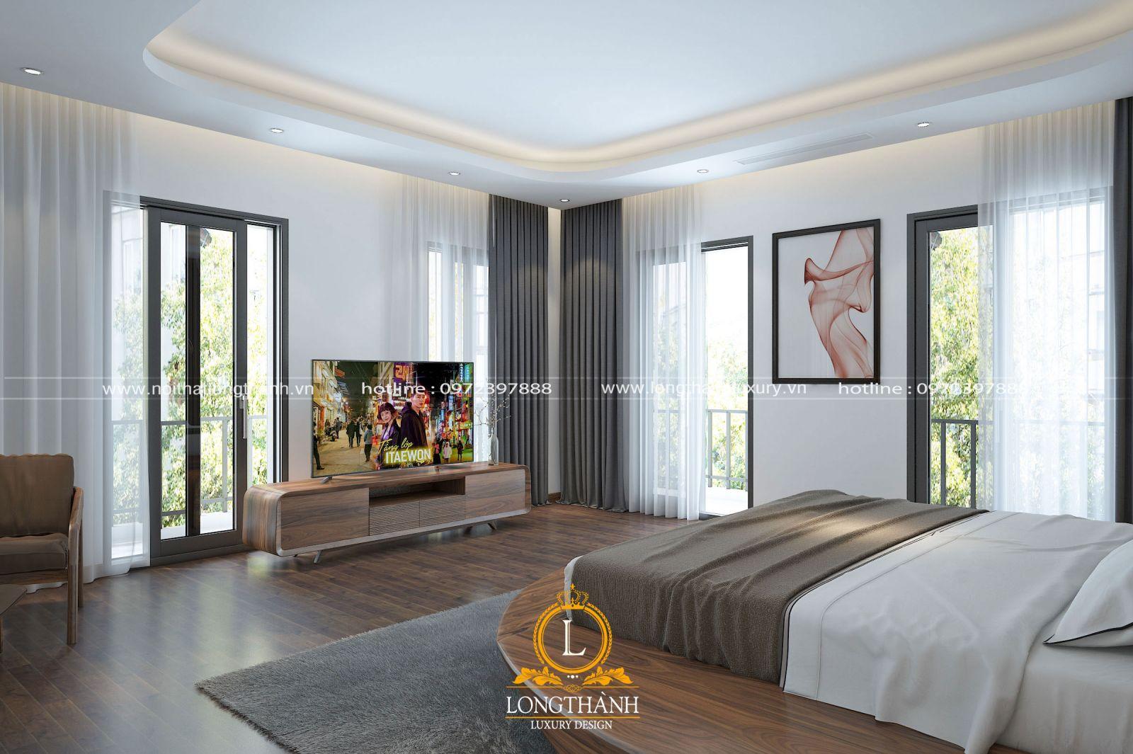 Phong cách hiện đại được lựa chọn sử dụng trong không gian phòng ngủ