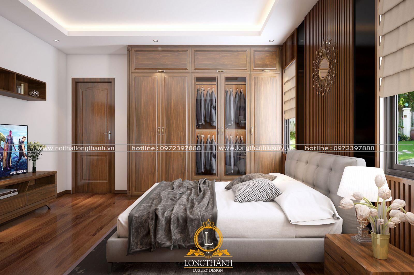 Nội thất phòng ngủ sử dụng hoàn toàn gỗ tự nhiên