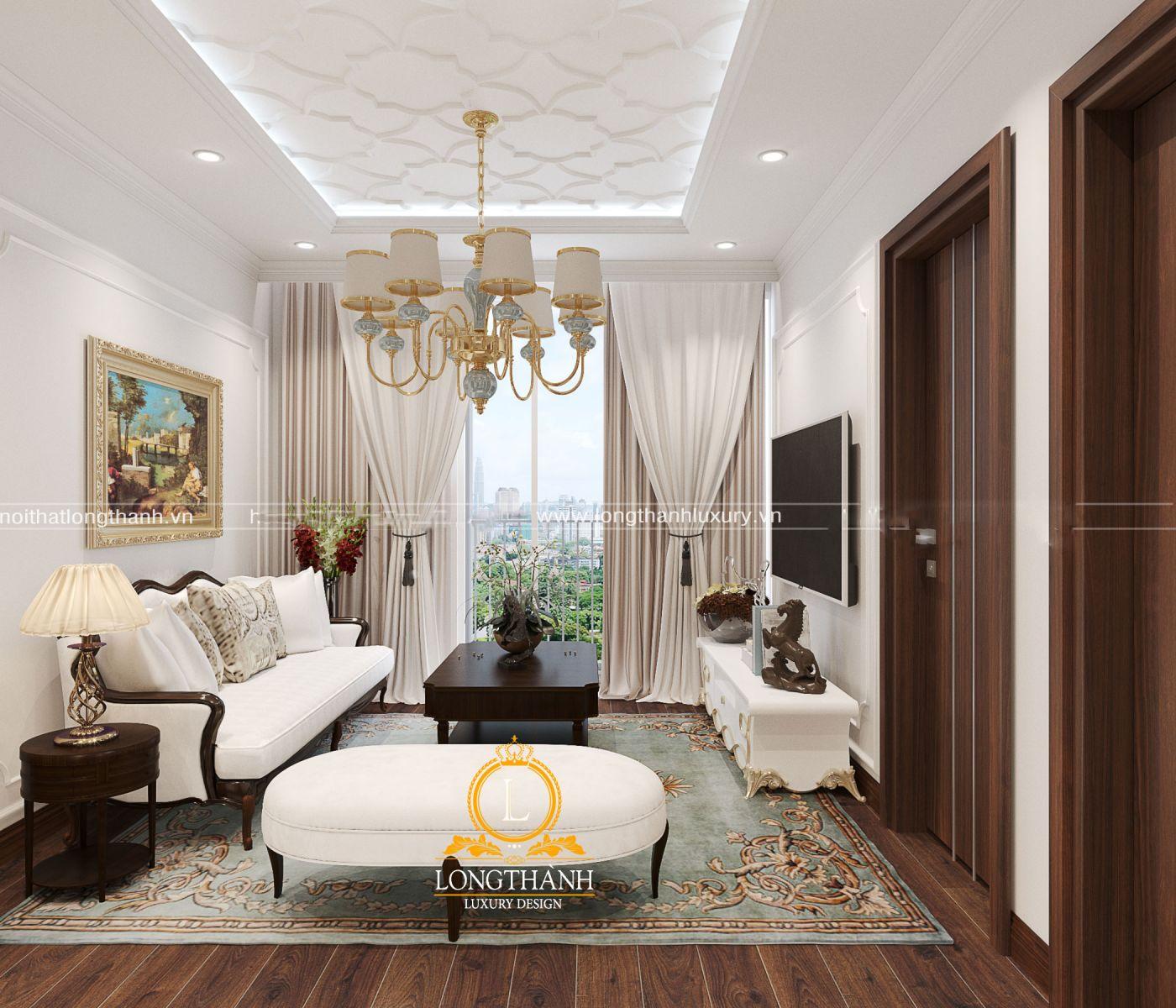 Nội thất phòng khách tân cổ điển đơn giản cho chung cư