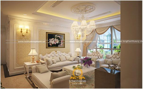 Không gian nội thất phòng khách tân cổ điển sang trọng và lộng lẫy