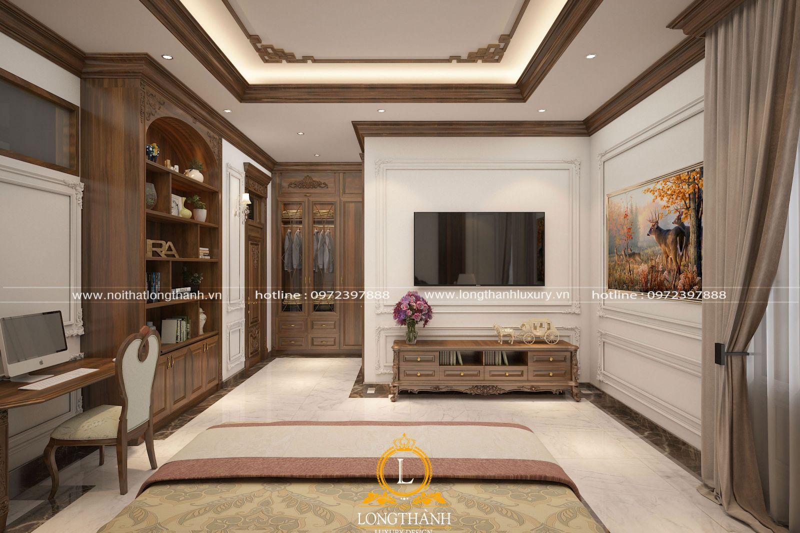 Nội thất phòng ngủ tiện nghi và ấn tượngvới hệ trần phàogỗ tự nhiên