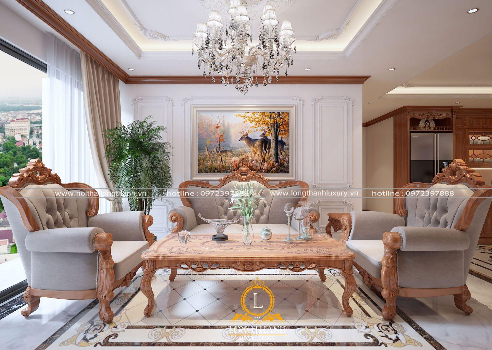 Phong cách tân cổ điển được sử dụng  nhiều trong không gian phòng khách chung cư