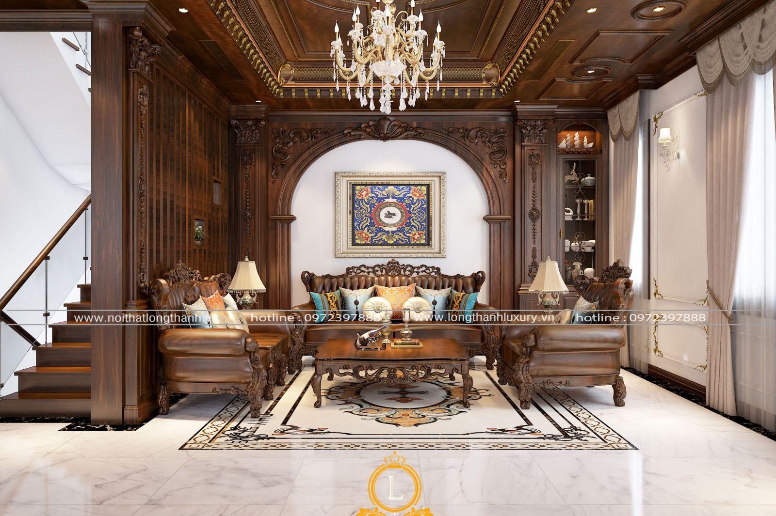 Phòng khách biệt thự với bộ sofa vừa vặn trong phòng khách đẹp