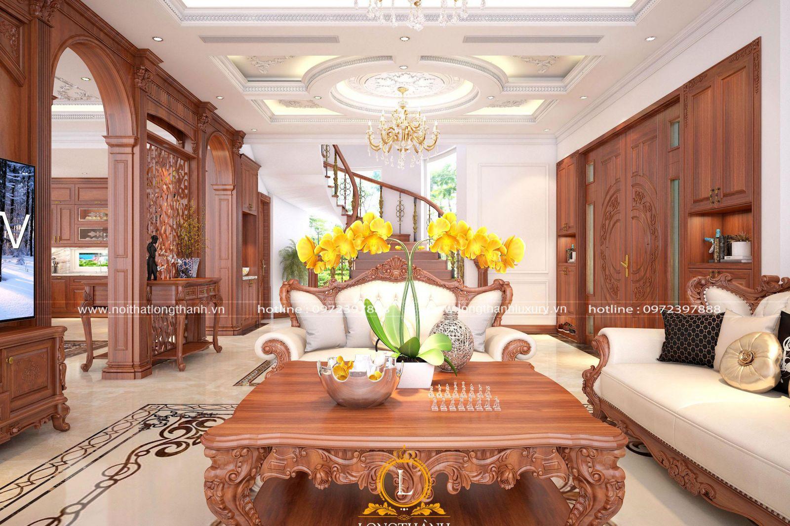 Nội thất phòng khách biệt thự tân cổ điển lộng lẫy cùng chất lượng gỗ tự nhiên
