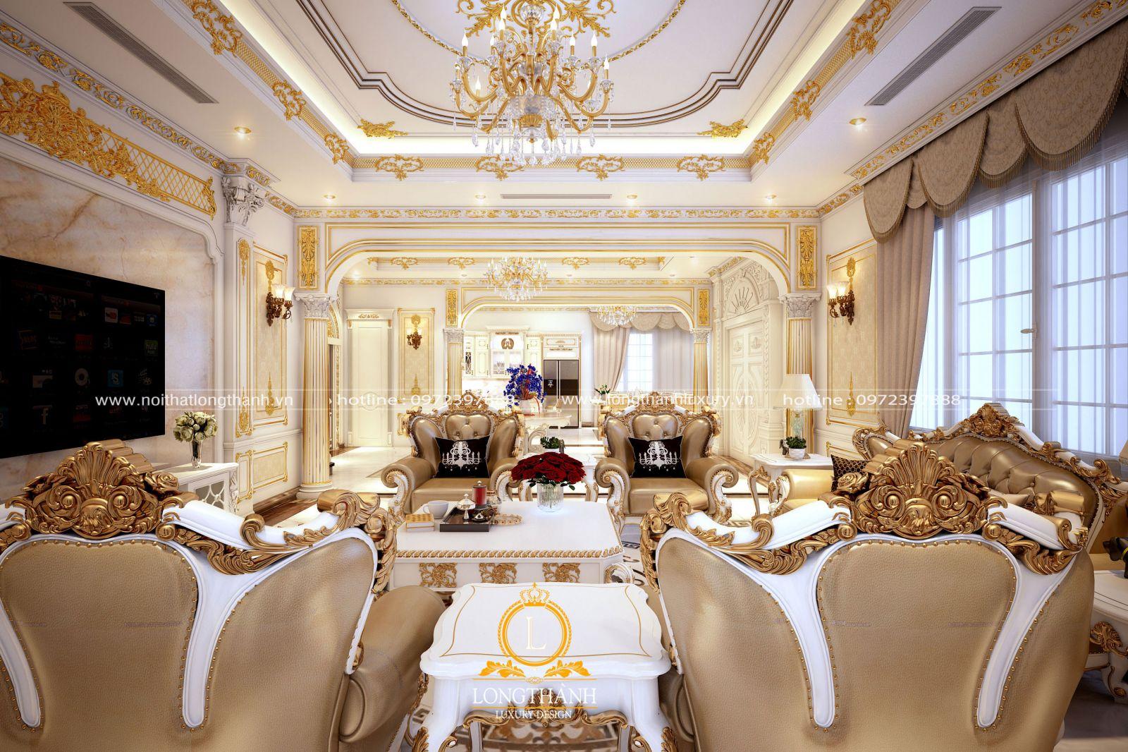 Phòng khách biệt thự vô cùng lộng lẫy được dát vàng đẳng cấp
