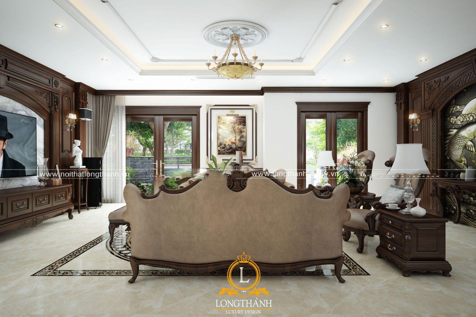 Phòng khách biệt thự với nhiều hệ cửa kính
