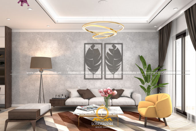 Thiết kế phòng khách chung cư trang trí thêm cây xanh