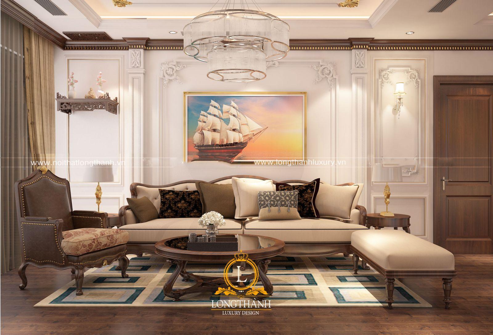Không gian phòng khách chung cư được thiết kế đơn giản và vô cùng tiện nghi