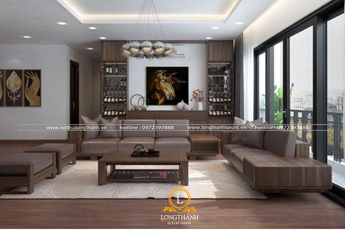 Phòng khách hiện đại  sang trọng nổi bật với gam màu trầm từ nội thất gỗ tự nhiên