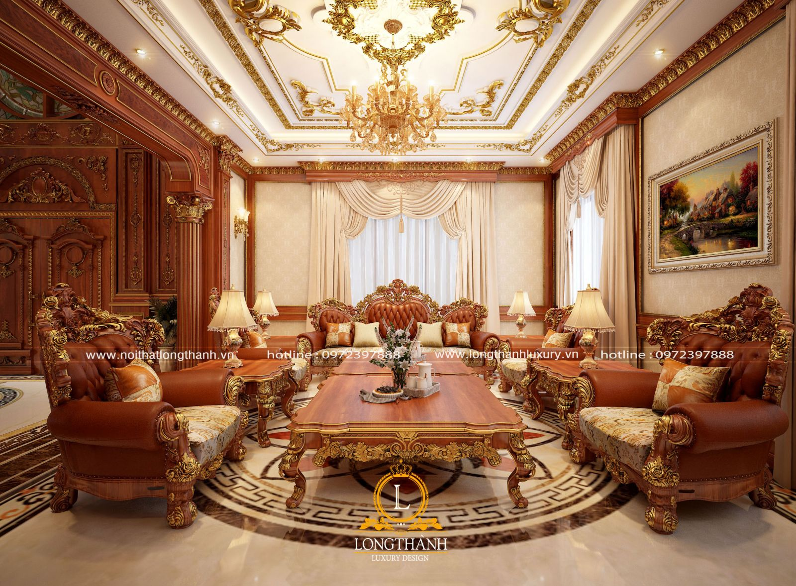 Bộ sofa dát vàng lộng lẫy được sử dụng trong không gian phòng khách biệt thự sang trọng