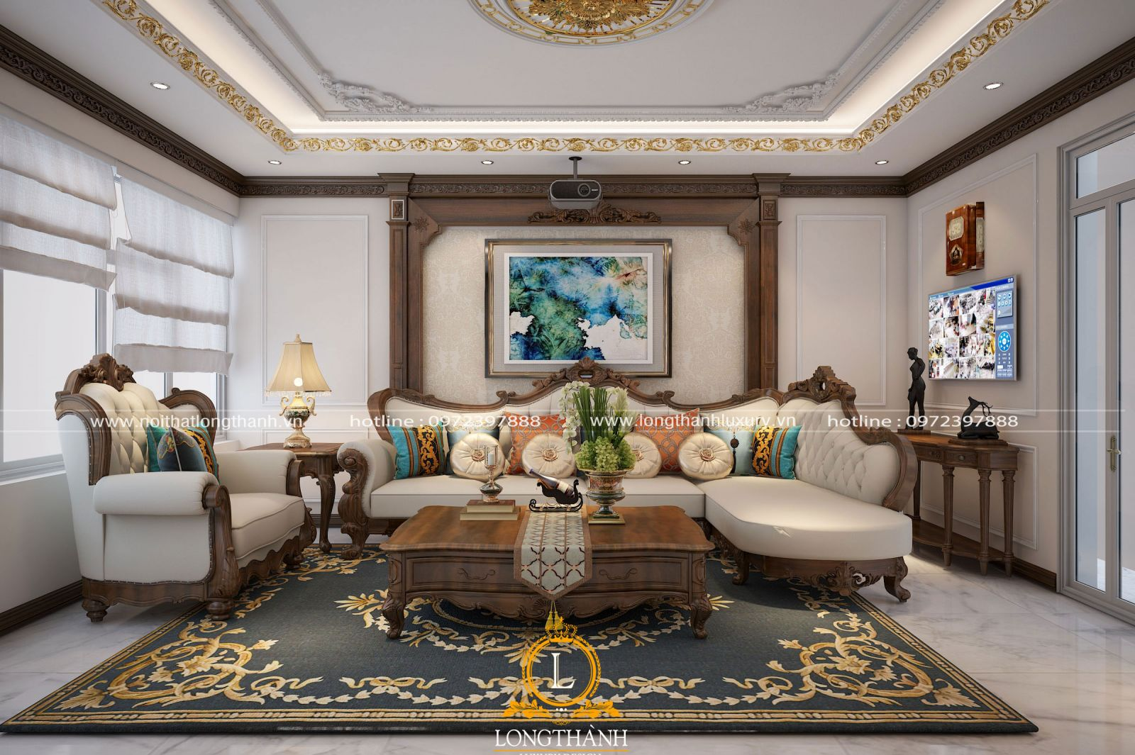 Bộ sofa cho phòng khách nhà ống được sử dụng chất liệu gỗ tự nhiên cao cấp