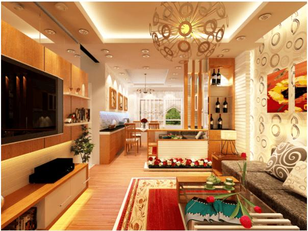 Phòng khách đẹp được trang trí ấm cúng