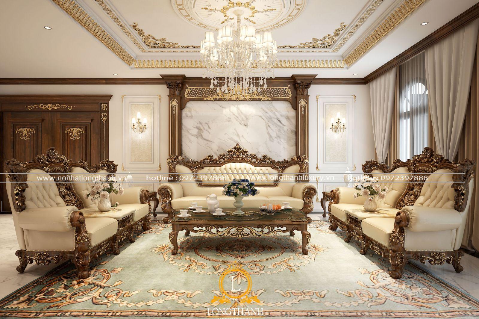 Chất liệu giấy dán tường cao cấp sử dụng cho phòng khách tân cổ điển sang trọng