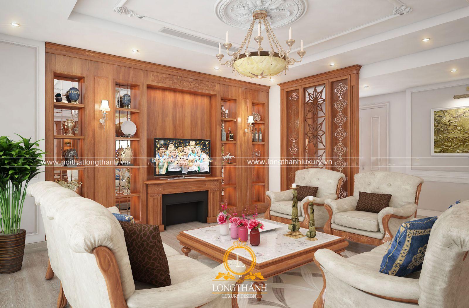 Nội thất phòng khách tân cổ điển sử dụng chất liệu gỗ tự nhiên cao cấp
