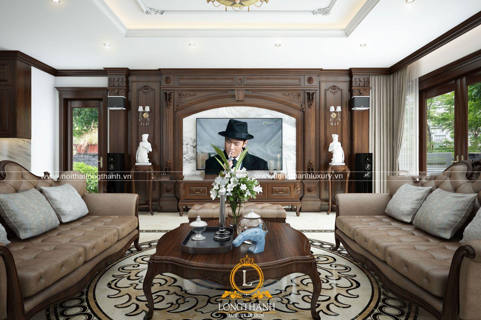 Phòng khách đẹp với đồ nội thất đươc bố trí ngăn nắp và tiện nghi