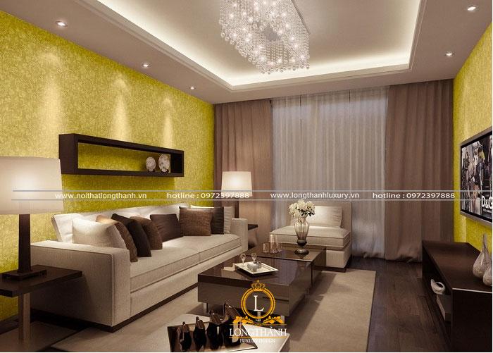 phòng khách đẹp với gam màu nổi