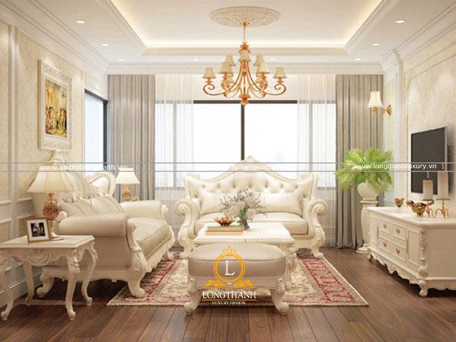 Bộ sofa được thiết kế bài trí phù hợp với không gian phòng khách tân cổ điển