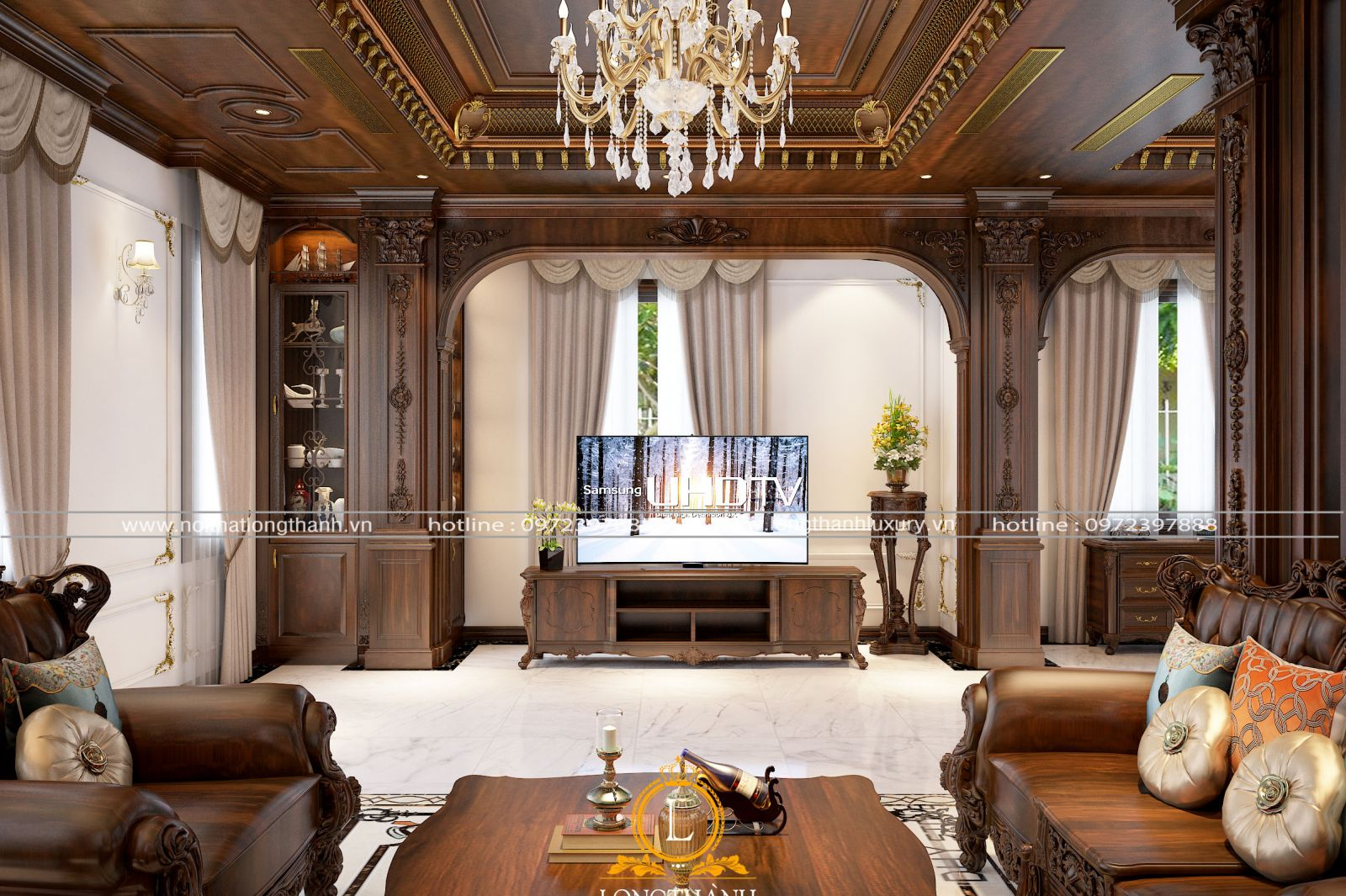 Phòng khách đẹp với hệ sảnh rộng